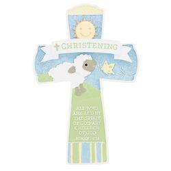Cheerful Christening Lamb Cross
