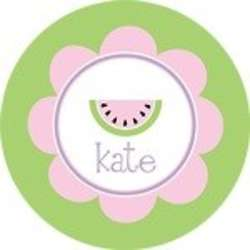"""Personalized 10"""" Pink and Green Watermelon Plate"""