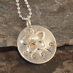 Flower Girl Charm Personalized Hand Stamped Necklace