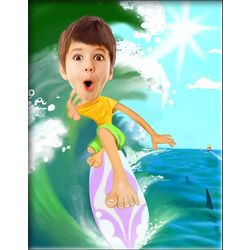 Surfing Caricature from Photo Print
