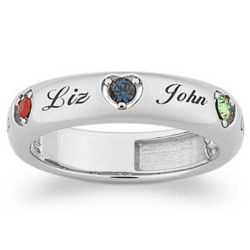 Platinum Plated Mother's Name & Birthstone Heart Band