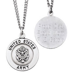 U.S. Army Military Sterling Silver Engraved Medal Pendant ...