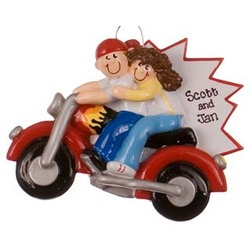 Motorcycle Couple Personalized Christmas Ornament