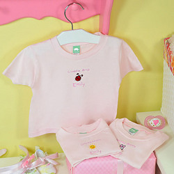 Personalized Set of 3 Baby Tees in Pink