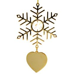 Personalized Clear Crystals & Gold Snowflake Ornament with Heart