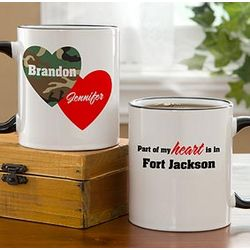 Personalized Hearts and Camo Military Coffee Mug
