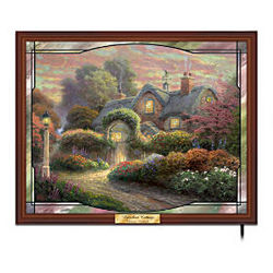 Thomas Kinkade Rosebud Cottage Stained Glass Wall Decor