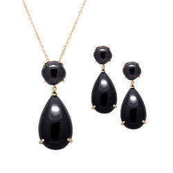 95 Carat Genuine Black Onyx Cabonchon Earring and Pendant Set