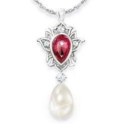 Luminous Allure Pearl and Diamonesk Pendant Necklace
