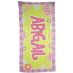 Kid's Butterfly Personalized Micro-Fiber Beach Towel