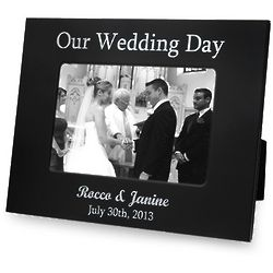 Personalized Black and Silver Our Wedding Day Picture Frame