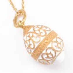 White Enameled and Gold-Plated Faberge Style Egg Pendant