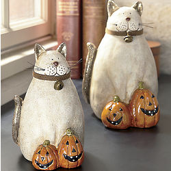 Cats with Jack-o-Lantern Figurines