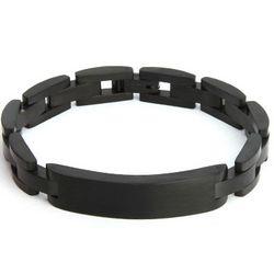Men's Black Plate Stainless Steel ID Bracelet