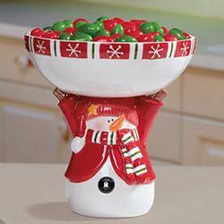 Snowman Pedestal Bowl