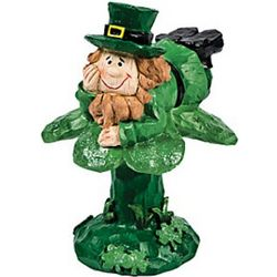 Leprechaun on a Shamrock Figurine