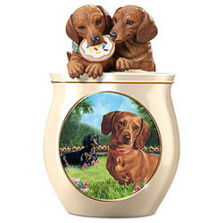 Dog Capers Sculpted Ceramic Cookie Jar
