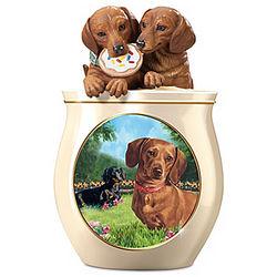 Dog Capers Sculpted Ceramic Cookie Jar