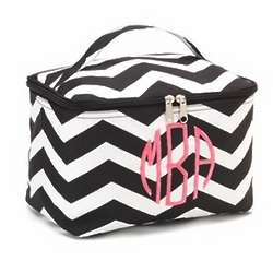 Large Black and White Chevron Cosmetic Case