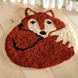 Washable Woodland Friends Fox Rug