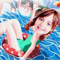 Your Photo in a Swimming Pool Caricature