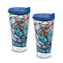 2 Navy Anchor 24 Oz. Tervis Tumblers with Lids