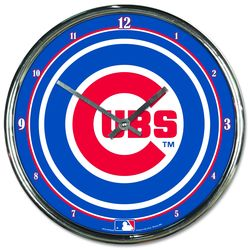 Chicago Cubs Chrome Plated Clock