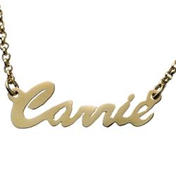 Gold Over Sterling Hollywood Script Name Necklace