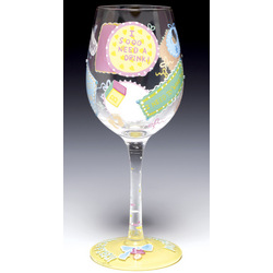 New Mommy Hand-Painted Wine Glass