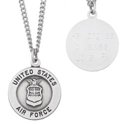 US Air Force Military Sterling Silver Engraved Medal Pendant