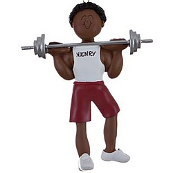Personalized Male Ethnic Weightlifter Christmas Ornament