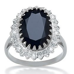 Platinum Over Silver Midnight Blue Sapphire and Diamond Ring