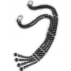 Black Pearl Double Strand Necklace Pave Clasp