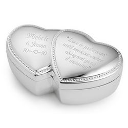Beaded Double Heart Jewelry Box