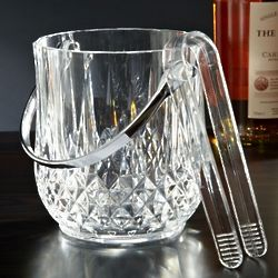 Diamond-Cut Acrylic Ice Bucket and Tongs