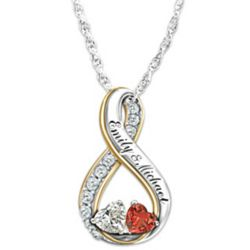 Soul Mates Topaz and Garnet Engraved Pendant Necklace