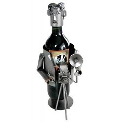 Handmade Recycled Metal Photographer Wine Caddy