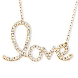 Gold Plated Cubic Zirconia Love Necklace