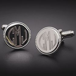 Polished Round Engraved Cuff Links