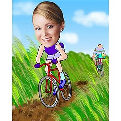 Your Photo in a Riding a Mountain Bike Caricature