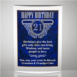 Milestone Acrylic Birthday Plaque with Blue Marble Finish