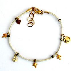 Leather Anklet with Charms