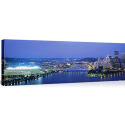 Three Rivers Stadium in Pittsburgh Skyline Canvas