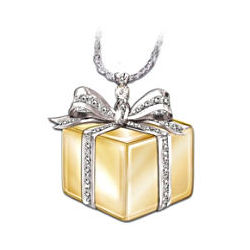 Sterling Silver and Diamond Gift Box Pendant Necklace