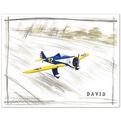 Blue 92 Plane Watercolor Personalized Print