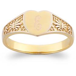 14K Gold-Plated Top-Engraved Heart Signet Ring