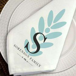 Personalized Modern Leaf Napkin Set