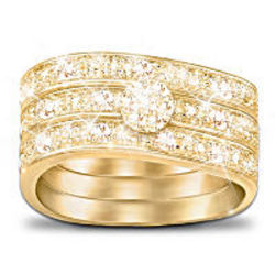 Champagne Celebration Three Band Diamond Ring