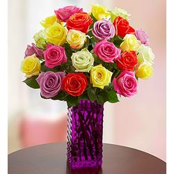 Two Dozen Assorted Roses in Purple Hobnail Vase
