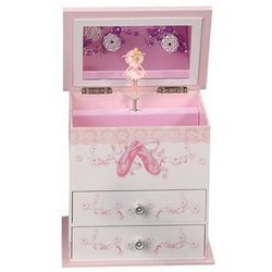 Girl's White and Pink Ballerina Musical Jewelry Box